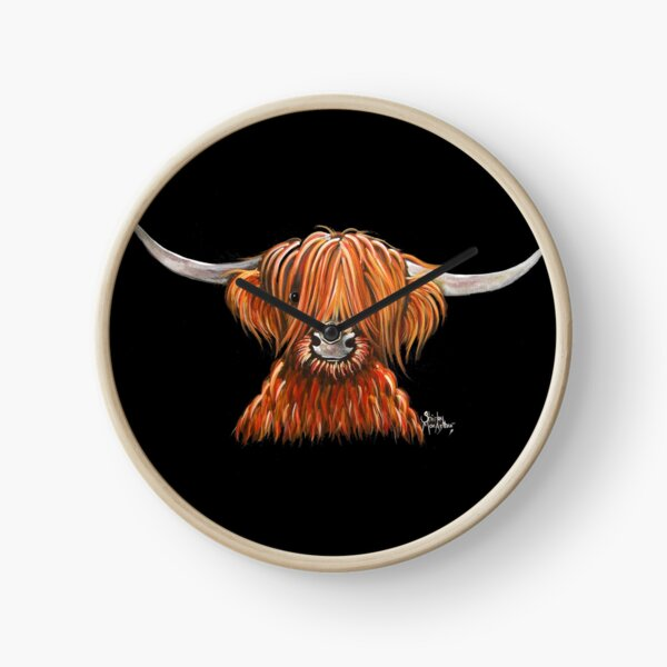 Scottish Hairy Highland Cow ' HARLEY 2 ' by Shirley MacArthur Clock