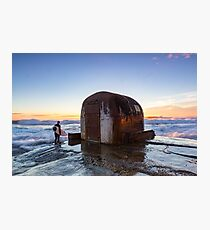 Surfer at ocean baths pump house  Photographic Print