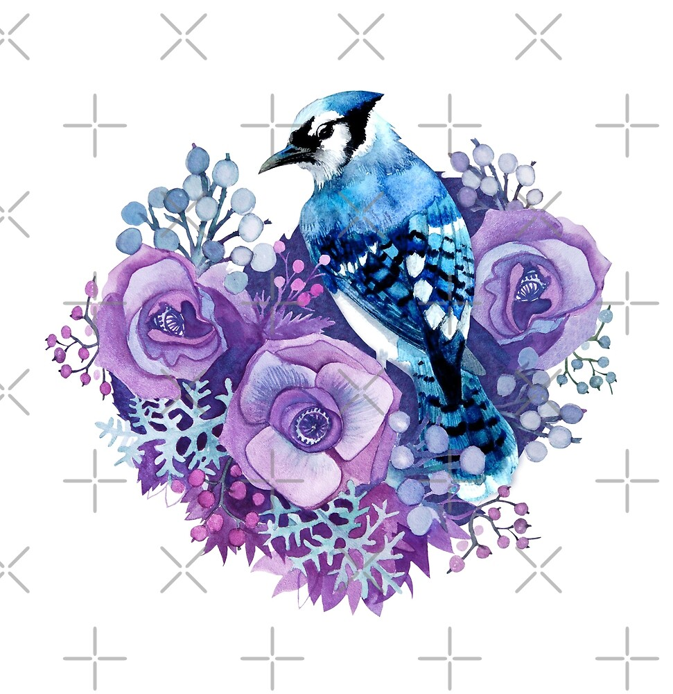 Blue Jay and Violet Flowers Watercolor  by torysevas