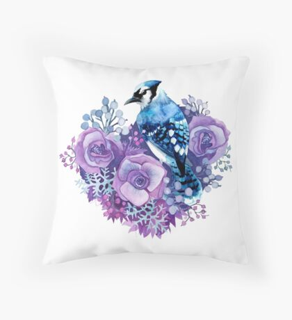 Blue Jay and Violet Flowers Watercolor  Throw Pillow