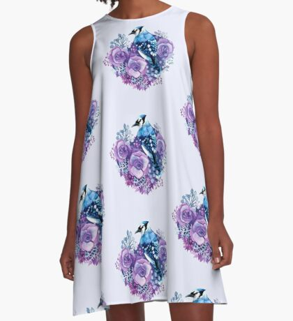 Blue Jay and Violet Flowers Watercolor  A-Line Dress