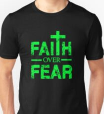 Faith over Fear - Big Cross - Christian Faith Saying T Shirt  T-Shirt