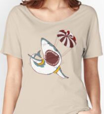 I Love Sharks Gift Funny Shark Flying With a Parachute Women's Relaxed Fit T-Shirt