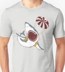 I Love Sharks Gift Funny Shark Flying With a Parachute Unisex T-Shirt