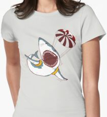 I Love Sharks Gift Funny Shark Flying With a Parachute Womens Fitted T-Shirt