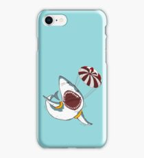I Love Sharks Gift Funny Shark Flying With a Parachute iPhone Case/Skin