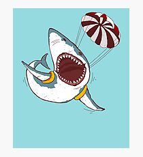 I Love Sharks Gift Funny Shark Flying With a Parachute Photographic Print