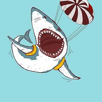 I Love Sharks Gift Funny Shark Flying With a Parachute by MemWear