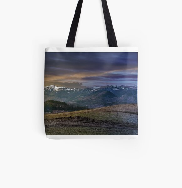 panorama of rural fields in mountains All Over Print Tote Bag