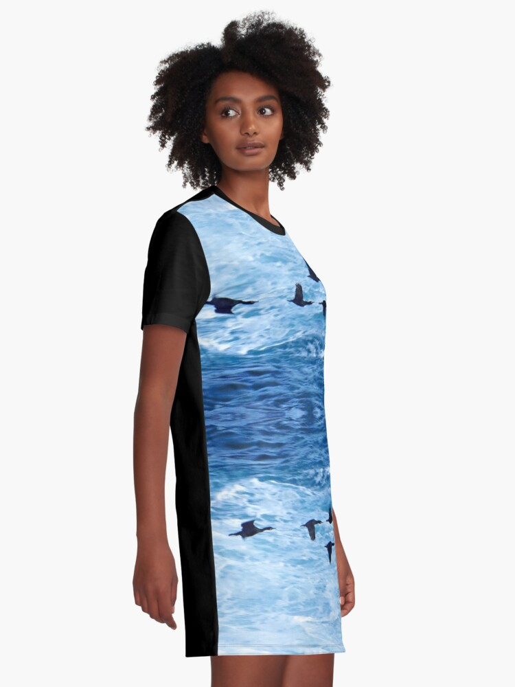 Alternate view of Cormorants  Skimming the Waves off Inishmore Graphic T-Shirt Dress