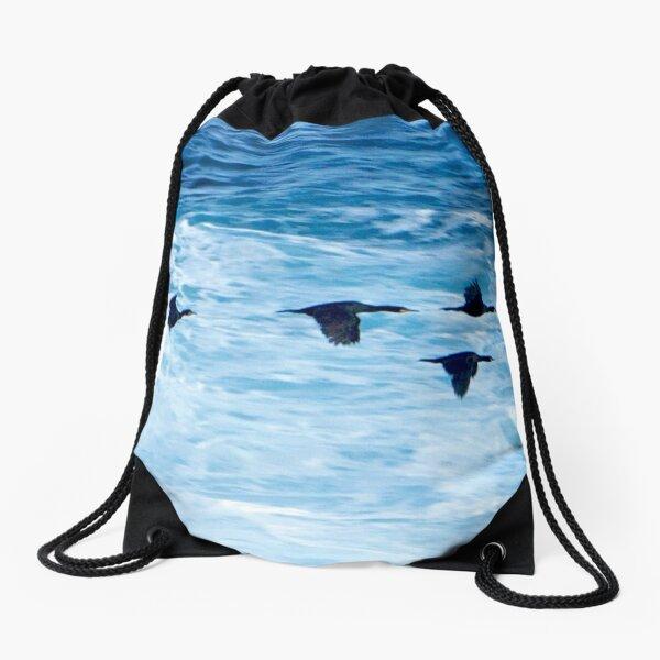 Cormorants  Skimming the Waves off Inishmore Drawstring Bag