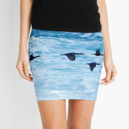 Cormorants  Skimming the Waves off Inishmore Mini Skirt