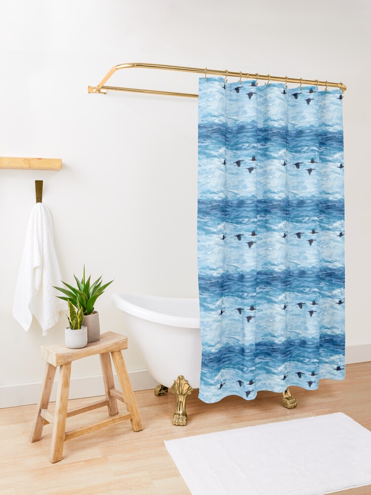 Alternate view of Cormorants  Skimming the Waves off Inishmore Shower Curtain