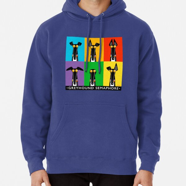 Greyhound Semaphore with title Pullover Hoodie