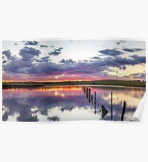 Colouful lake sunset Poster