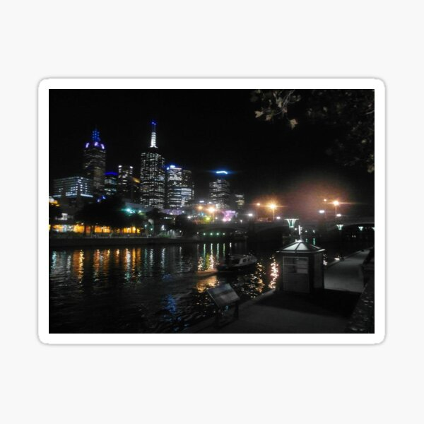 Melbourne's Yarra River and Southbank at night Sticker