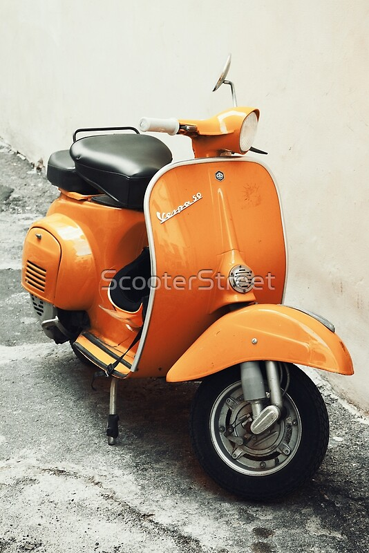 Vintage Vespa On Street - Orange | Art Print