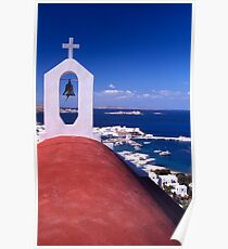 Greece. Cyclades Islands. Mykonos. Greek Orthodox Church and the harbour in Mykonos Town. Poster