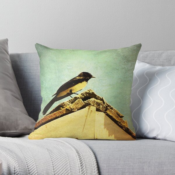 Willie wagtail on the Roof  Throw Pillow