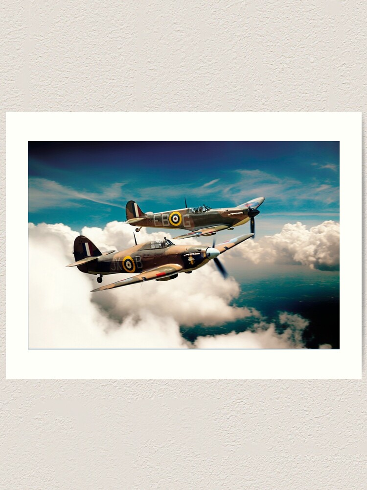 WW2 Submarine Spitfire /& Hurricane At Sunset Picture Framed Canvas Art Print