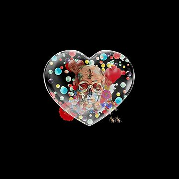 Skull Flower Power in Black Crystal Heart by Diego-t