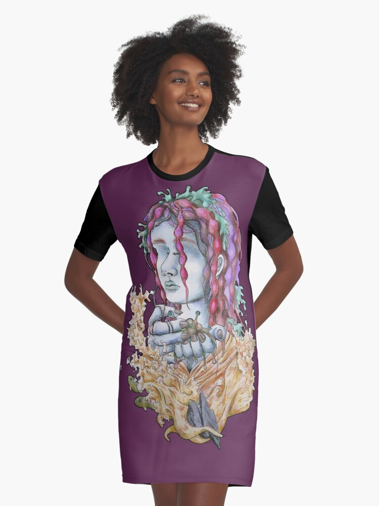 Pink Mermaid Graphic T-Shirt Dress Front