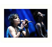 Joan Jett - On Blue Art Print