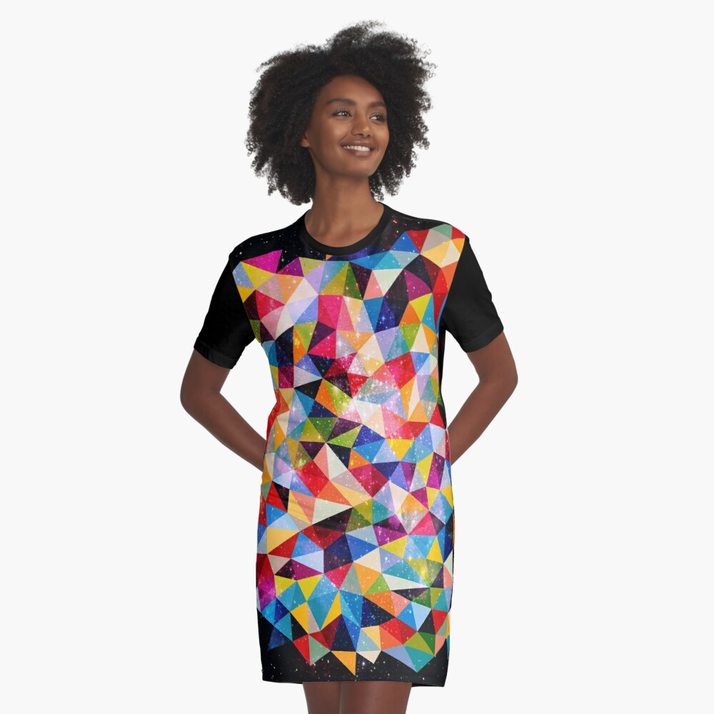 Space Shapes Graphic T-Shirt Dress