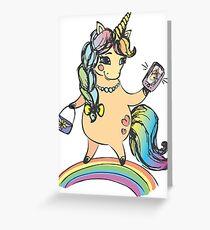 Funny cute unicorn girl Greeting Card