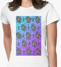 SKULL AND CANDLE WITCHCRAFT PATTERN Women's Fitted T-Shirt