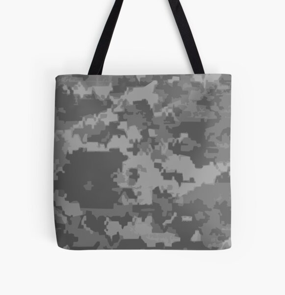 Gray Digi Camo Style Camouflage Pattern All Over Print Tote Bag