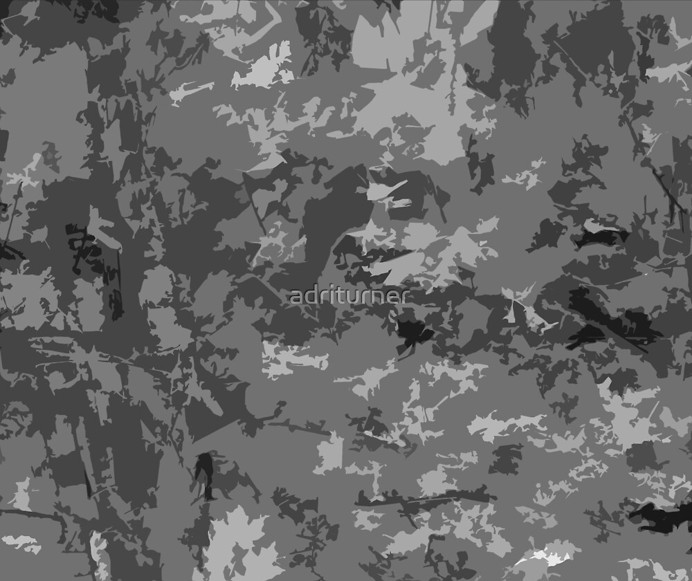 Gray Camo Style Camouflage Pattern by Adri Turner