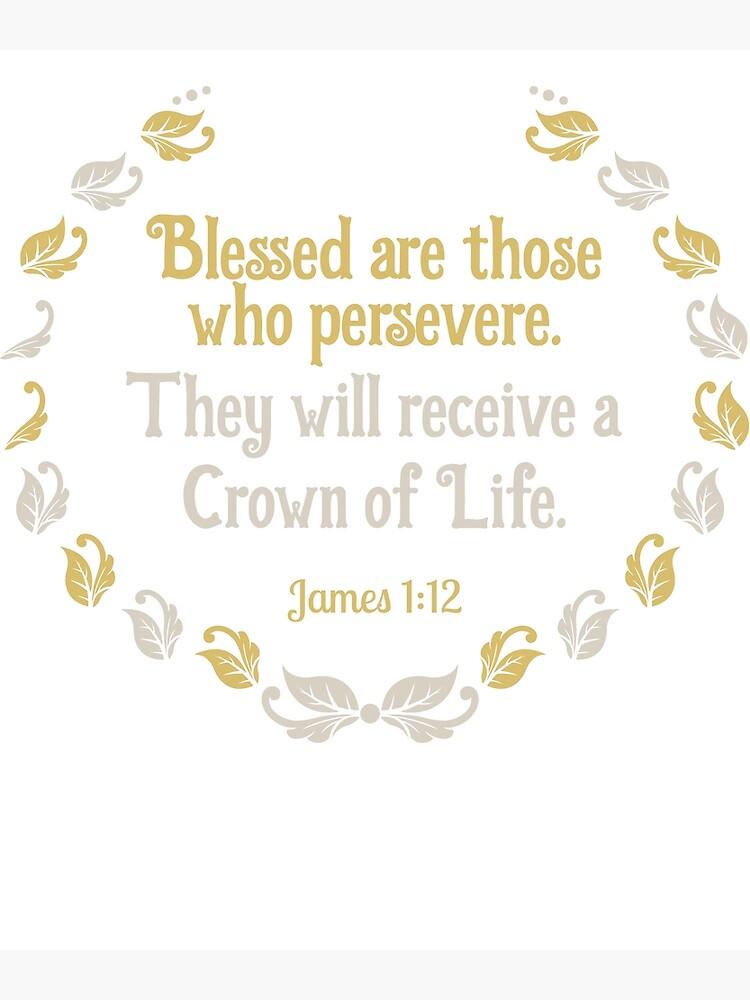 Tarjetas de felicitación «Camiseta de la Escritura de la Biblia Corona de  la Vida Santiago 1:12» de elfsage | Redbubble