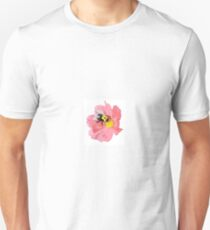 BEE AND PINK FLOWER Unisex T-Shirt