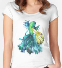 watercolor green fish Women's Fitted Scoop T-Shirt