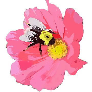 PINK BEE AND FLOWER by sarahdallow
