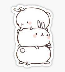 Stacked Rabbits Sticker