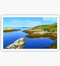 Boats Waiting in Calm Waters Sticker