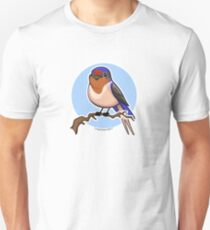 Cave Swallow Bird on Blue Background Unisex T-Shirt