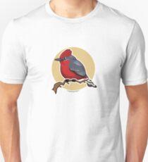 Vermillion Flycatcher Bird over Gold Unisex T-Shirt