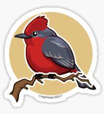 Vermillion Flycatcher Bird over Gold Sticker