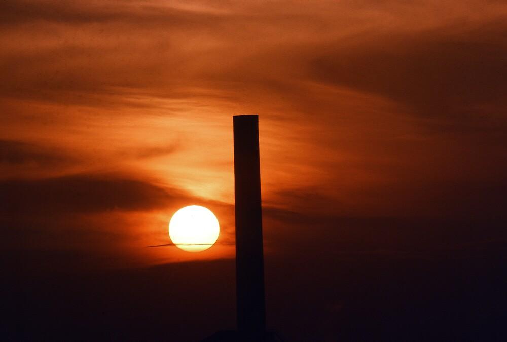 Industrial Sunset: Fiery Sky by kitlew