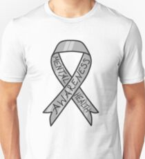 Silver Ribbon for Mental Health (Hand Lettering) T-Shirt