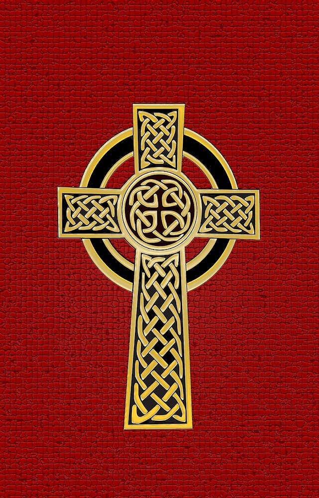 Celtic Cross, gold and red by Olicanian