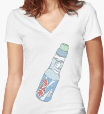 Kawaii Soda Drink (*background color customizable) Women's Fitted V-Neck T-Shirt