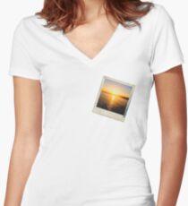 Sunset Polaroid Women's Fitted V-Neck T-Shirt
