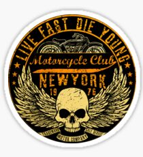 New York motor cycle club with skull Sticker