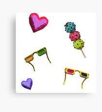 3D icecreams, sunglasses and hearts. Canvas Print