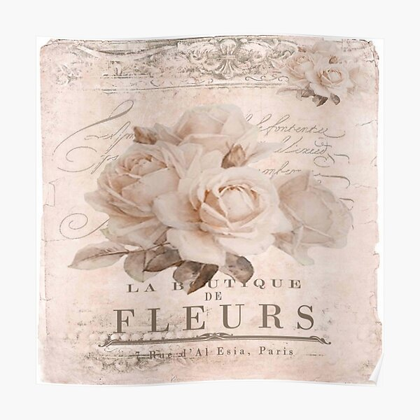 french vintage roses Poster