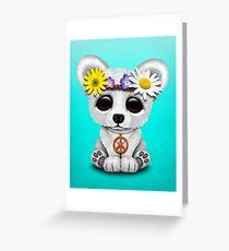 Cute Baby Polar Bear Cub Hippie Greeting Card